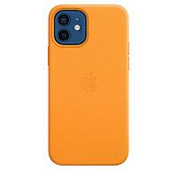 Оригинальный Кожаный чехол MagSafe для iPhone 12 и iPhone 12 Pro Золотой апельсин