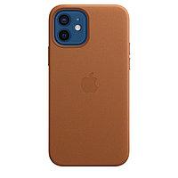 Оригинальный Кожаный чехол MagSafe для iPhone 12 и iPhone 12 Pro Золотисто-коричневый