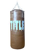 Боксерский мешок TITLE из натуральной кожи (140х45см, 64кг)