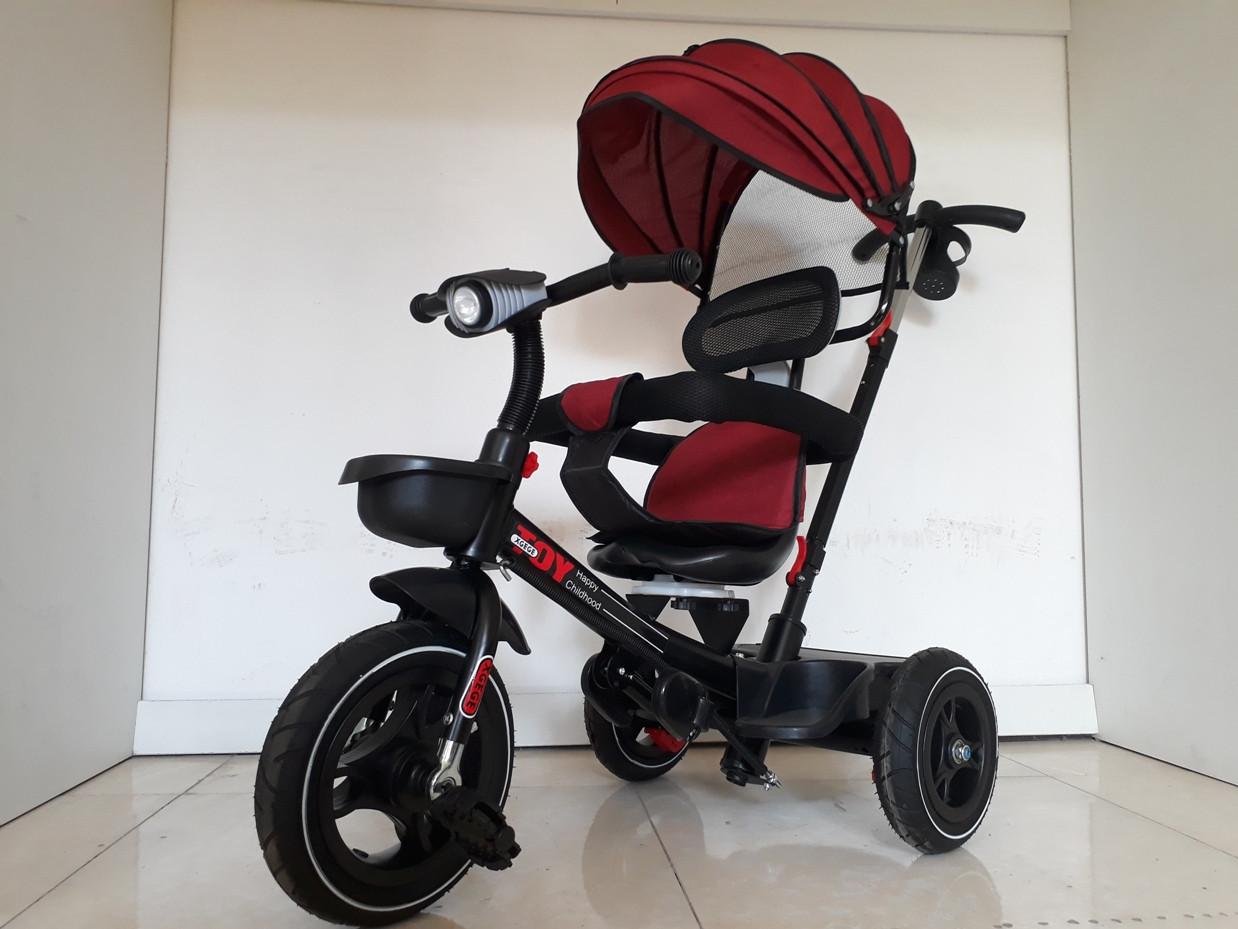 """Велосипед трехколесный """"Toy"""" с родительской ручкой, фонарем и мелодиями."""