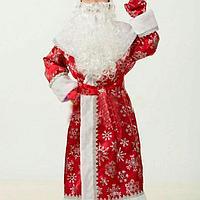 Новогодний костюм Деда Мороза велюровый принт снежинка красный с меховой опушкой., фото 4