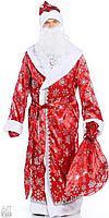 Новогодний костюм Деда Мороза велюровый принт снежинка красный с меховой опушкой., фото 2