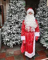Новогодний костюм Деда Мороза велюровый принт снежинка красный с меховой опушкой., фото 5