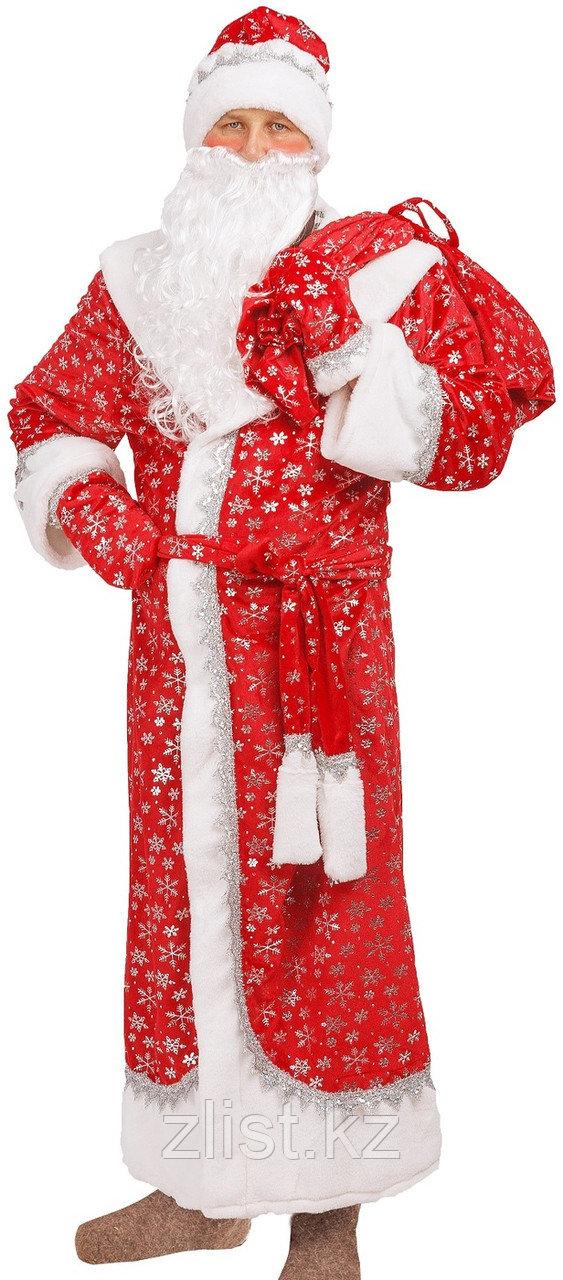 Новогодний костюм Деда Мороза велюровый принт снежинка красный с меховой опушкой.