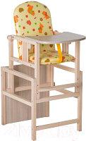 Стул-стол для кормления регулируемая спинка ГНОМ Утки желтые