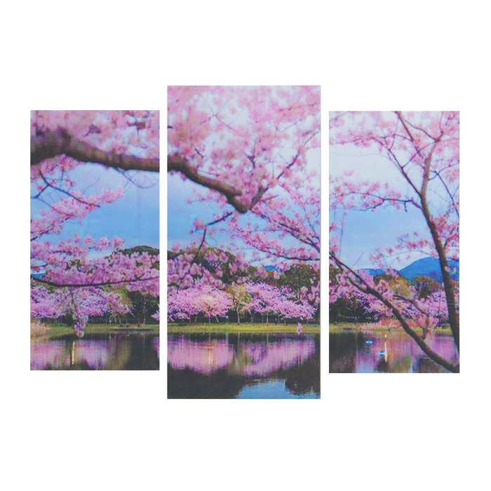 "Модульная картина ""Сакура над рекой"" 25*50 - 2 части, 30*60,  60*80 см"