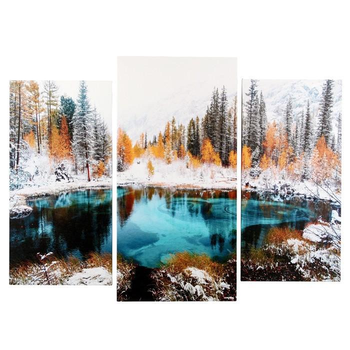 "Модульная картина ""Лазурь зимнего озера"" (2-25х50, 30х60 см) 60х80 см"