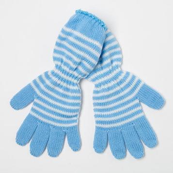 Перчатки для девочки, цвет голубой, размер 16