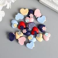 Декор для творчества пластик 'Сердце с цветочком' набор 20 шт матовый МИКС 1,3х1,3 см