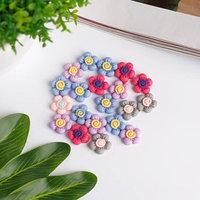 Декор для творчества пластик 'Цветочки' набор 20 шт матовый МИКС 1,3х1,3 см