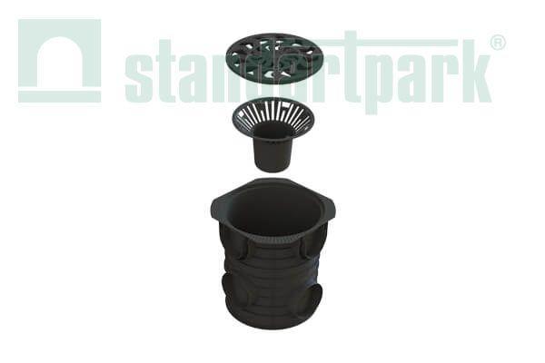 Дождесборник S'park ДС-25-ПП пластиковый круглый с решеткой пластиковой кл. А (комплект)