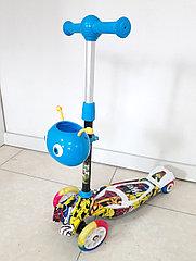 Оригинальный четырехколесный детский самокат Scooter для детей Мордашка. Рассрочка. Kaspi RED.