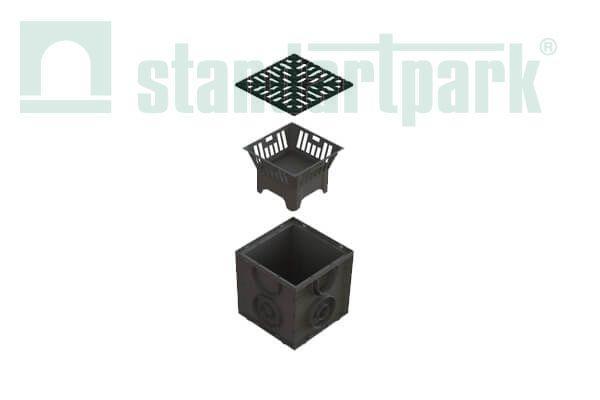Дождеприемник S'park пластиковый с чугунной решеткой ДП-25.25-ПП с РВ щель ВЧ (комплект)