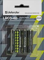 Элемент питания LR03 AAA Defender Alkaline LR03-4B - 4 штуки в блистере