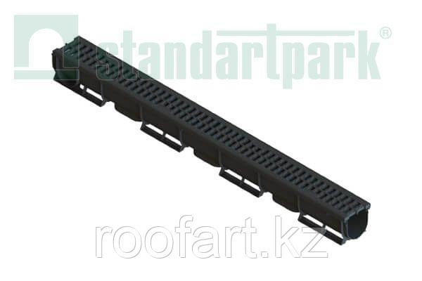 Лоток Водоотводный пластиковый S'PARK 1 с пластиковой ячеистой решеткой (комплект)
