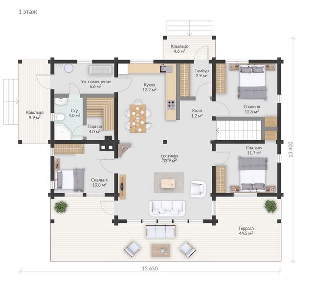 проекты деревянных домов, план 1-этажного дома и строительство под ключ, проектирование и строительство деревянных домов.