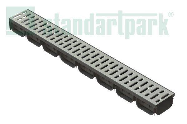 Лоток водоотводный S'park 2  ДN-100 H-70 пластик с решеткой щелевой стальной оцинкованной (комплект)