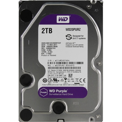 Жесткий диск HDD 2 Tb Western Digital Purple  SATA 64Mb
