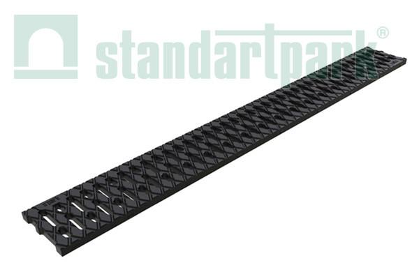 Лоток водоотводный S'park 2  ДN-100 H-70 пластик черный с решеткой щелевой пластиковой (комплект)