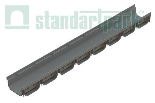 Лоток водоотводный S'park 2  ДN-100 H-70 серый пластик с решеткой щелевой пластиковой (комплект)