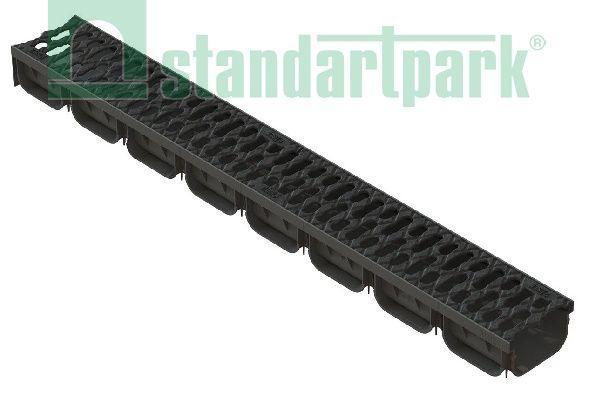 Лоток водоотводный S'park 2  ДN-100 H-70 пластик с решеткой щелевой чугунной (комплект)