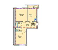 2 комнатная квартира в ЖК Алтын Отау 57.87 м², фото 1
