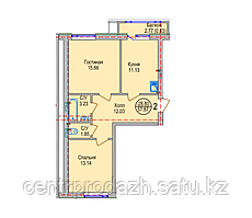 2 комнатная квартира в ЖК Алтын Отау 57.87 м²