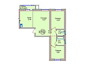 3 комнатная квартира в ЖК Алтын Отау 71.46 м²