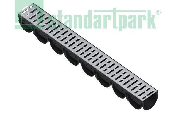Лоток водоотводный S'park 3  ДN-100 H-100 пластик с решеткой стальной оцинкованной (комплект)