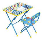 Набор мебели НИКА ПЕРВОКЛАШКА синий фон (стол-парта+мяг стул) h580
