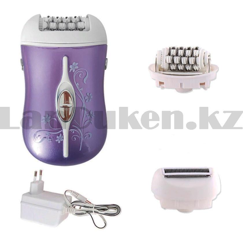 Эпилятор аккумуляторный с 2-мя сменными насадками и колпачком-регулятором фиолетового цвета ProGemei GM-3055 - фото 4