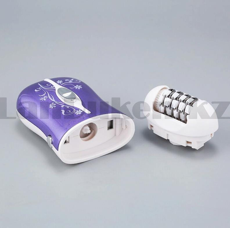 Эпилятор аккумуляторный с 2-мя сменными насадками и колпачком-регулятором фиолетового цвета ProGemei GM-3055 - фото 8