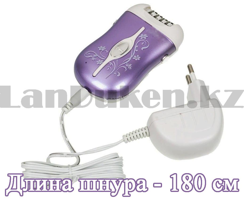 Эпилятор аккумуляторный с 2-мя сменными насадками и колпачком-регулятором фиолетового цвета ProGemei GM-3055 - фото 7