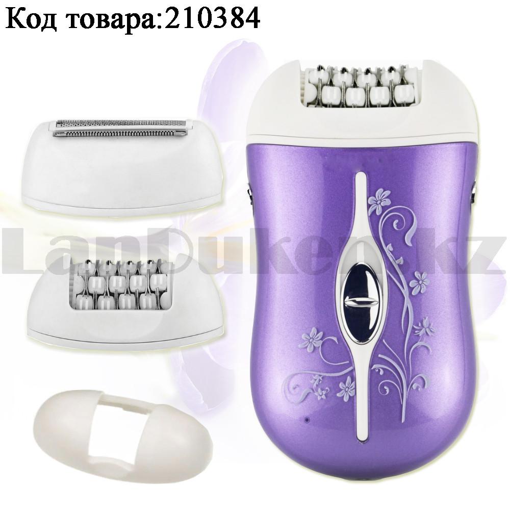 Эпилятор аккумуляторный с 2-мя сменными насадками и колпачком-регулятором фиолетового цвета ProGemei GM-3055 - фото 1