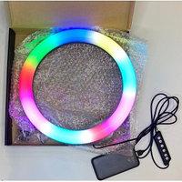 Цветная Кольцевая LED Лампа RGB 26 см (MJ26) +Штатив 210 см