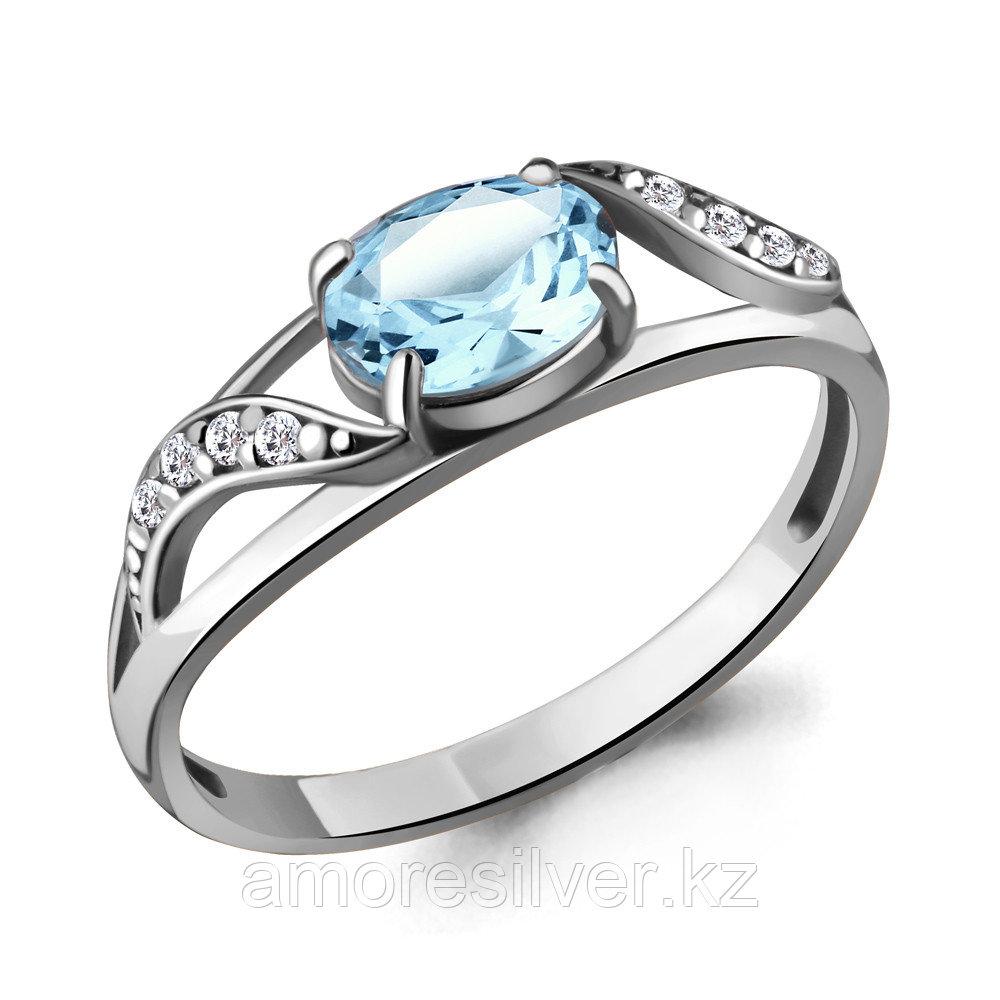 """Кольцо AQUAMARINE серебро с родием, топаз фианит, """"halo"""" 6933202А.5 размеры - 18"""