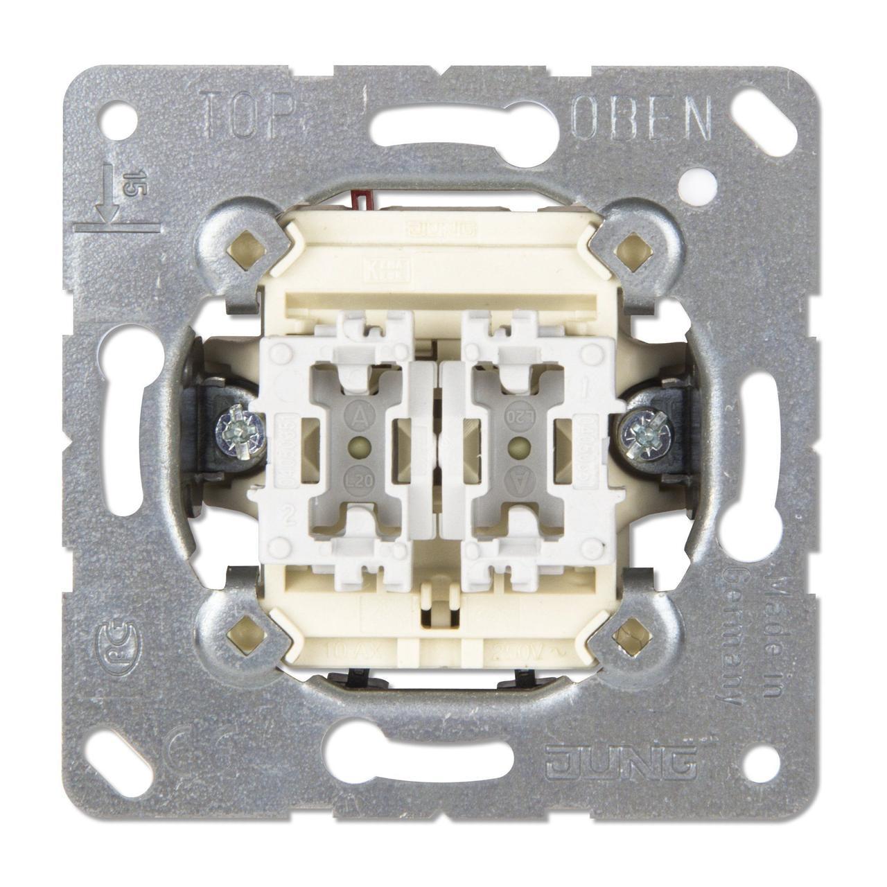 Выключатель 2-клавишный 10АХ, 250В АС ep405u