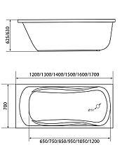 Акриловая ванна  Классик 130*70 см. Ванна+ножки.1 Марка. Россия, фото 3