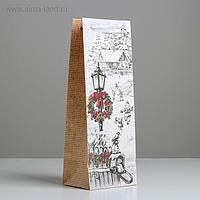 Пакет под бутылку крафтовый «Праздники», 12 × 36 × 10 см