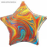 """Шар фольгированный 19"""" звезда Мрамор, разноцветный 1204-1034"""