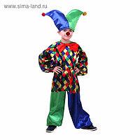 Карнавальный костюм «Клоун Кеша», рубашка, штаны, шапка, бант, носик, р. 30, рост 116 см