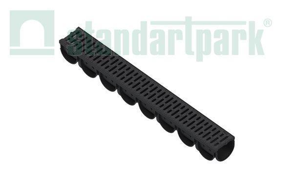 Лоток водоотводный S'park 3  ДN-100 H-100 пластик с решеткой пластиковой кл. А  (комплект)