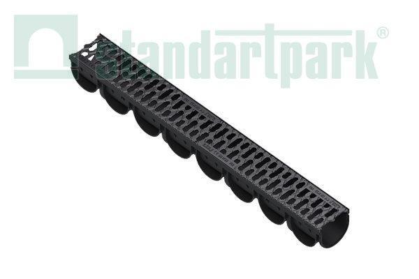 Лоток водоотводный S'park 3  ДN-100 H-100 пластик решеткой щелевой чугунной кл. А  (комплект)