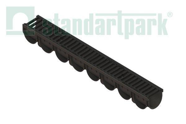 Лоток водоотводный S'park 3  ДN-100 H-100 пластик с решеткой щелевой чугунной кл. С  (комплект)