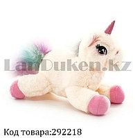 Мягкая игрушка Единорог лежачий с розовым рогом белый 18 см