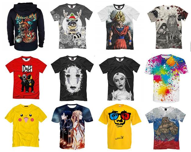 Печать рисунков на белые и цветные футболки (под ключ) черная
