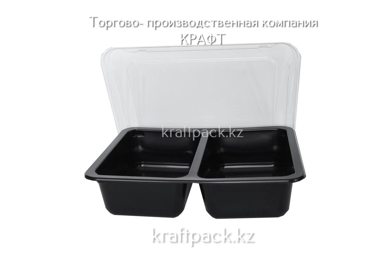 Ланч бокс 800мл двухсекционный (50/50) К-190, ЧЁРНЫЙ (50/300) (1993)