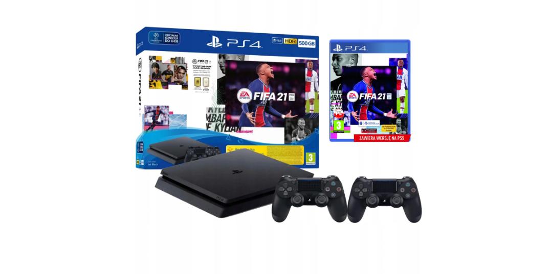 Консоль PLAYSTATION 4 PS4 SLIM 500 ГБ + 2PADS + FIFA 21