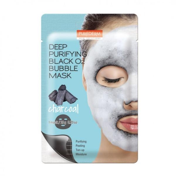 Тканевая маска для лица Purederm Deep Purifying Black O2 Bubble Mask Charcoal