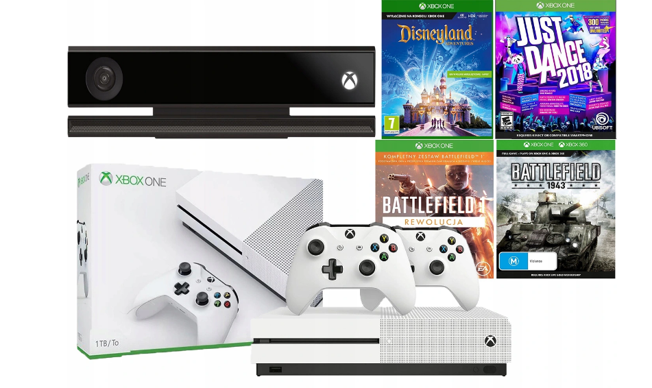 Консоль XBOX ONE S Консоль Kinect 1 ТБ, 2 панели + игры Kinect